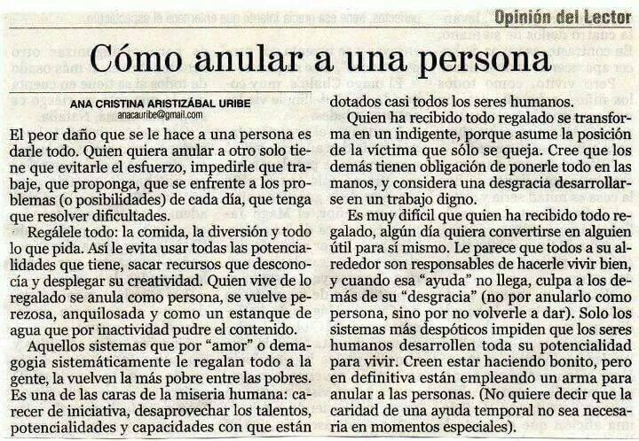 Cómo anular a una persona :: Ana Cristina Aristizábal Uribe