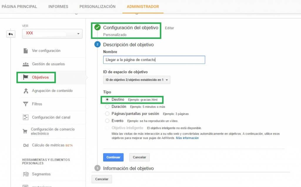 Configuración del objetivo en Analytics :: Google Analytics para principiantes