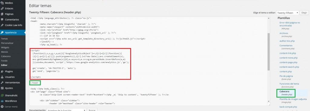 Insertando el código de seguimiento de Google Analytics en WordPress :: Google Analytics para principiantes