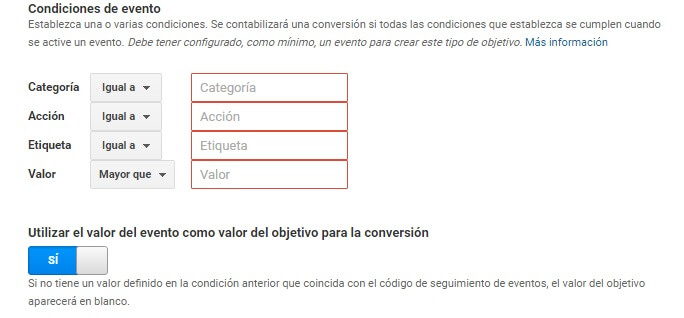 Configuración de eventos en Google Analytics