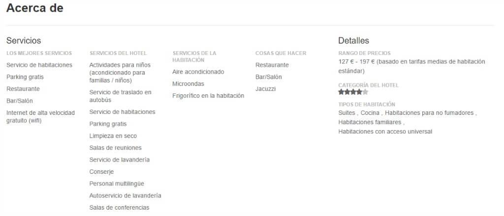 Descripción de los servicios de un hotel en Tripadvisor :: Cómo optimizar tu presencia en TripAdvisor